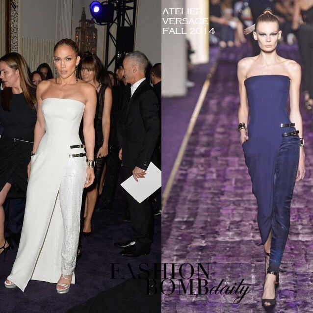 4f7369cebe3 JLo stunned in Paris with a new fashion-legend by Versace  the white  jumpsuit from Fall Collection 2014